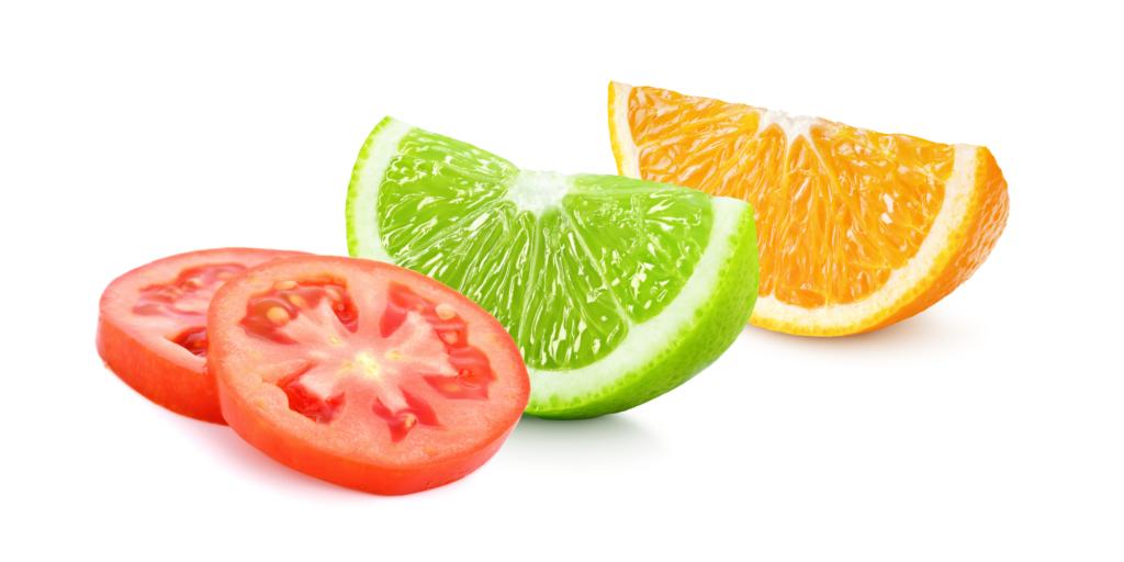 Sormac tomatenschijf, limoenwegde en sinaasappelwedge